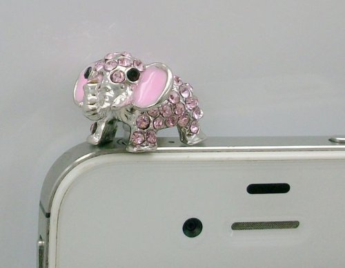 Dust Plug-earphone Jack Accessories Crystal Pink Elephant / Cell Charms / Dust Plug / Ear Jack for Iphone 4 4s / Ipad / Ipod Touch / Other 3.5mm Ear Jack(with Cutely Gift Box)-----FREE Shipping From NY (Elephant Plug For Iphone 4s)