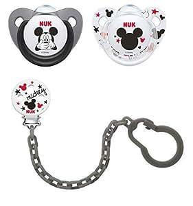 NUK 2 chupetes Disney de silicona 6 - 18 meses + cadena gris porta ...
