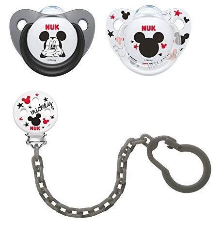 NUK 2 chupetes Disney de silicona 6 - 18 meses + cadena gris ...
