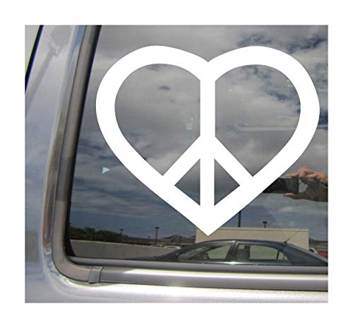 Right Now Decals Peace Heart - Sign Symbol Anti-War - Cars Trucks Moped Helmet Hard Hat Auto Automotive Craft Laptop Vinyl Decal Store Window Wall Sticker 10111