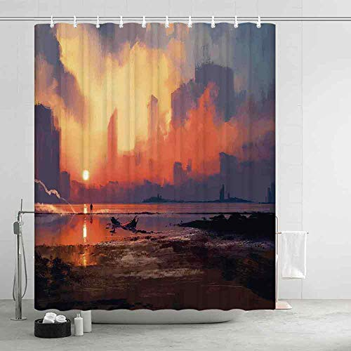 YOLIYANA Fantasy World Ultra Soft Shower Curtain,Man on Sandy Beach with City Skyscrapers Skyline Sunset Oil Paint Graphic for Adults Teens,70.87