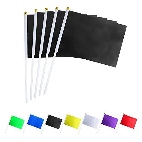 GentleGirl.USA 50 Pack Black Flag, Pure Solid Black Small Mini Banner Banner Flags Stick, Party Color Decoration Parade Supplies, School, Sports Club, International Festival Celebration