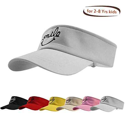 HH HOFNEN Kid's Washed Twill Cotton Baseball Cap Vintage Adjustable for 2-8yrs Boys Girls (#3 Kid's Visor White)
