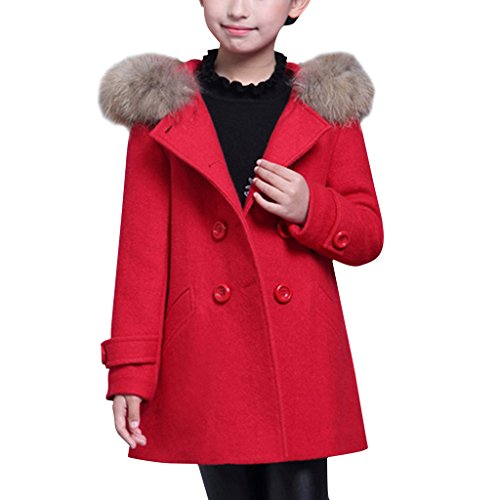 YISUMEI Big Girls Coats Thicker Wool Hooded Red XL