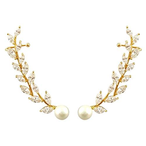 SELOVO Women's Simulated Pearl Zircon Cuff Crawlers Ear Wrap Earrings Rose Gold (Mother Of Pearl Rose Earrings)