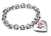 "Mens & Womens Medical Alert ID Bracelets Stianless Steel Curb Chain Heart Charms Bangle Bracelets-Free Lettering,7.5"" from BBX JEWELRY"