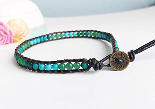 Turquoise chrysocolla green jade stone anklets leather anklets men women anklets blue green anklets beaded - Anklet Jade