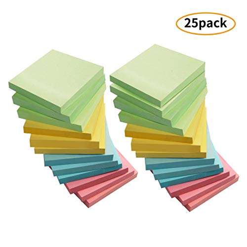 Sticky Notes, 3x3 Inch Sticky Notes Self-Stick Note Pad Post for Home, Office, 72 Sheets/Pad, 4 Colors, Pack of 25 ()