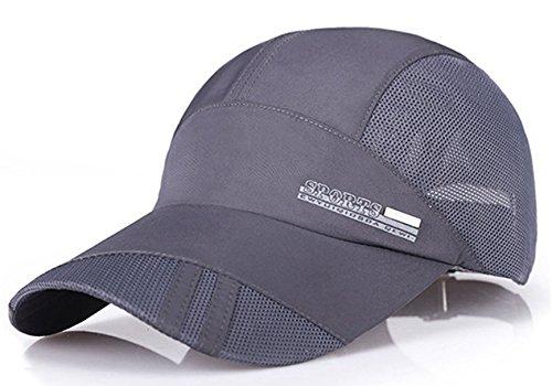 Summer Baseball Cap Quick Dry Mesh Back Cooling Sun Hats Flexfit Sports Caps for Golf Cycling Running Fishing Grey
