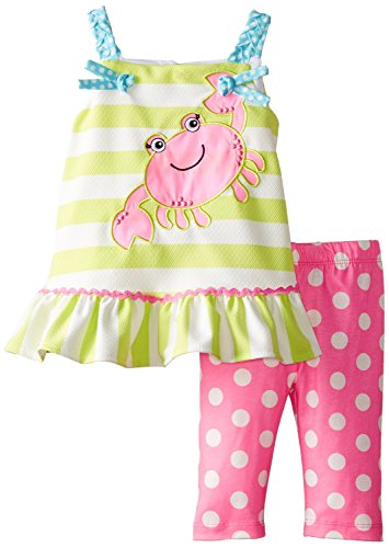 Rare Editions Baby Baby Girls' Crab Applique Capri Set, Lime/Pink, 12 Months