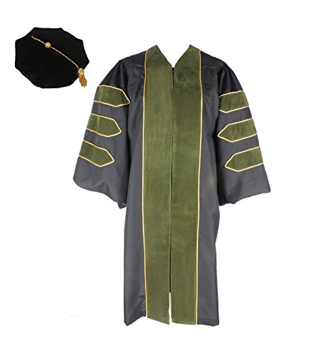 GraduationService Unisex Deluxe Doctoral Graduation Gown with Gold Piping and Black Doctoral 8-Side Velvet Tam Package