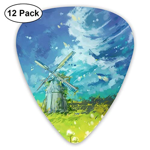 351 Shape Classic Guitar Picks Watercolor Windmill Plectrums Instrument Standard Bass 12 Pack