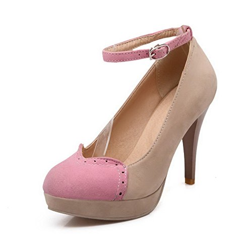 VogueZone009 Damen Rund Zehe Hoher Absatz Rein Schnalle Pumps Schuhe, Pink, 33