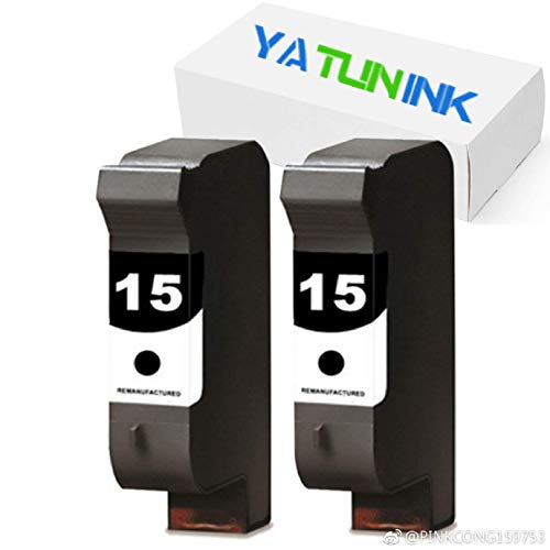 YATUNINK Remanufactured Ink Cartridge Replacement for HP 15 C6615D (2 Black, 2 Pack) ()