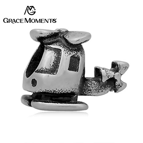 Calvas 5Pcs/Lot Grace Moments 316L Stainless Steel Landmark Helicopter Big Hole Beads European Beads Charms for Jewelry DIY Bracelet