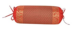 Brocade Floral Bolster Neck Roll Cylinder Throw Ethnic Silk Round Cushion Cover