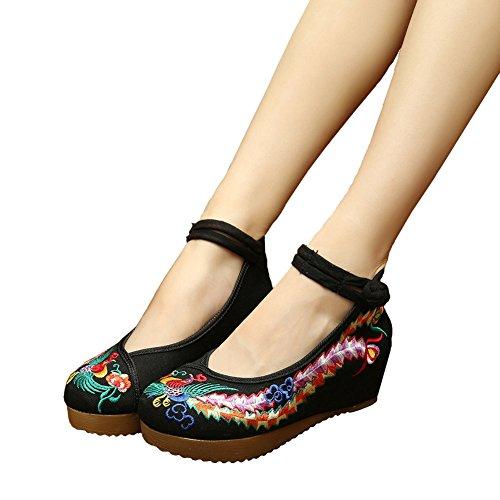 Shoes Black Embroidery Casual Phoenix Sandals Platform Shoes Oxfords Walking Women's SPF1Cwq1