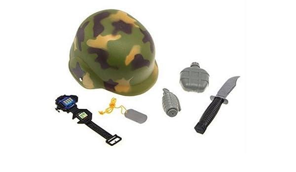 Disfraz de militar 6 pcs casco arma botella placa juguete: Amazon ...