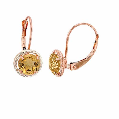 10K Rose Gold 6mm Round Citrine Center Stone Rope Frame Leverback Earring (10k Rope Earrings)