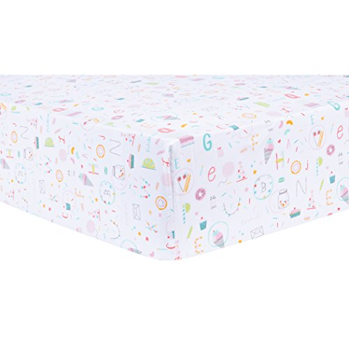 Trend Lab 100% Cotton Alphabet Cake Fitted Crib Sheet, Blue/Pink/Orange ()