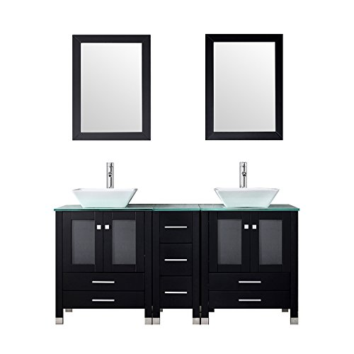 """(WALCUT 60"""" Double Ceramic Sink Solid Wood Bathroom Tempered Glass Countertop Vanity Cabinet Modern Contemporary Design w/Mirror )"""