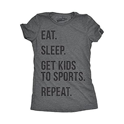 Crazy Dog T-Shirts Womens Eat Sleep Get Kids to Sports Tshirt Funny Mom Parenting Tee for Ladies