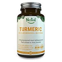 TURMERIC CURCUMIN - Turmeric 1000mg + Black Pepper 10mg | Natural Anti-Inflammatory, Pain Relief, Reduce Inflammation | Curcumin Extract: High Absorption - Boost Immunity & Gut Health, Vegan Capsules