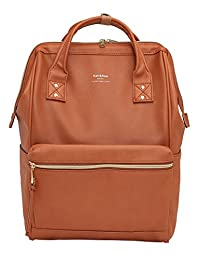 Kah&Kee Leather Backpack Diaper Bag with Laptop Compartment Travel School for Women Man (Camel)