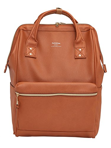 Kah&Kee Leather Travel Notebook Backpack Laptop School Diaper Bag for Women Man (Camel)