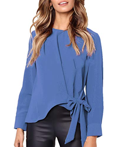 Tees N Irregulier Fashion Femmes Bleu et Shirts Automne Jumpers Rond Col Simple Papillon Printemps ud Hauts Blouse Longues Personnalit T Manches Pulls Fashion Casual Tops Yq8Y7P
