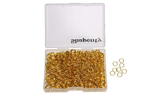 Shapenty 1000PCS Gold Plated Iron Open Jump Rings Connectors Bulk for DIY Craft Earring Necklace Bracelet Pendant Choker Jewelry Making Findings and Key Ring Chain Accessories (Gold, 6mm) ()