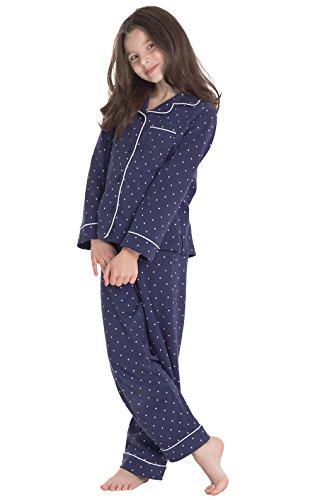 PajamaGram Classic Polka-Dot Long Sleeve Pajama Set, Navy, Big Girls' - Girl Large Dot