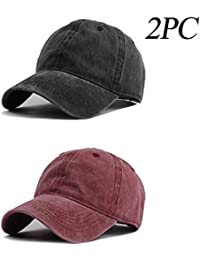 4c42e01c63f Unisex Vintage Washed Distressed Baseball-Cap Twill Adjustable Dad-Hat