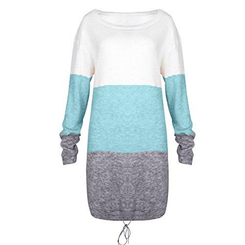 donna l'autunno multicolor manica casual mini lunga girocollo inverno abito ❤️ 2 per Maglione corto Longra T1WnAPwExA