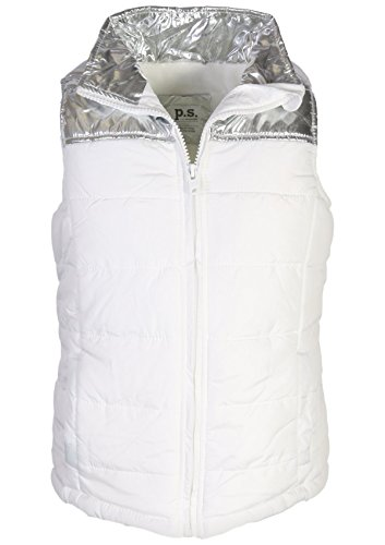 p.s. from aeropostale Girls Pongee Puffer Vest Jacket, White/Silver, Size 12 (Aeropostale Puffer Jacket)