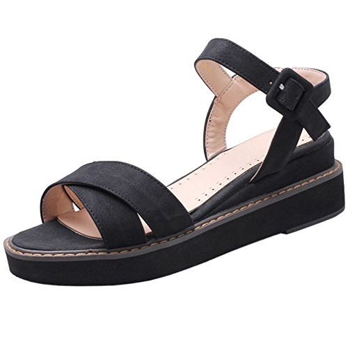 COOLCEPT Women Fashion Ankle Strap Sandals Peep Toe Slingback Wedge Heel Shoes Black