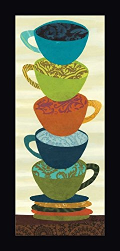 "Stacking Cups II by Jeni Lee - 13""x32"" Framed Giclee Canvas Art Print - Ready to Hang"