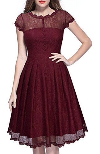 Magike Robe Vintage annes 1950 's Style Audrey Hepburn Rockabilly Swing  Manches Courtes Robe de Soire Cocktail Rtro Grande Taille Rouge