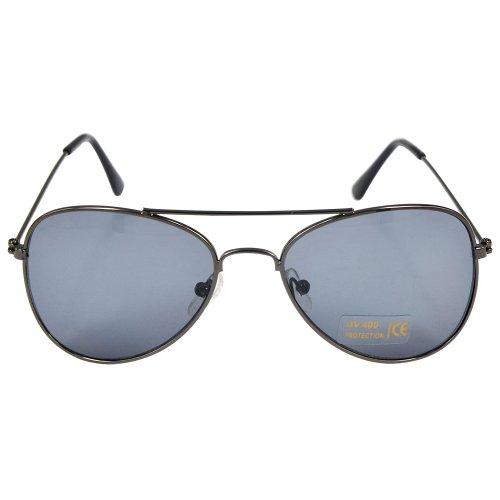 Children Aviator Uv400 Protection Metal Frame Sunglasses Gun Grey