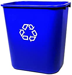 Rubbermaid Commercial  FG295673BLUE Deskside Recycling Container, Medium, Blue, 28-1/8 quart Capacity, 14.4\