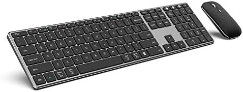 Multi-Device Bluetooth Keyboard and Mouse - Jelly Comb Full Size Ultra Thin Rechargeable 2.4G Wireless Bluetooth Keyboard Mouse Combo, Compatible for Mac OS/iOS/Windows/Android KM62-3