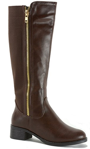 alpine swiss Davos Women's Knee Length Riding Boots Brown 9 (Alpine Leather Boot)