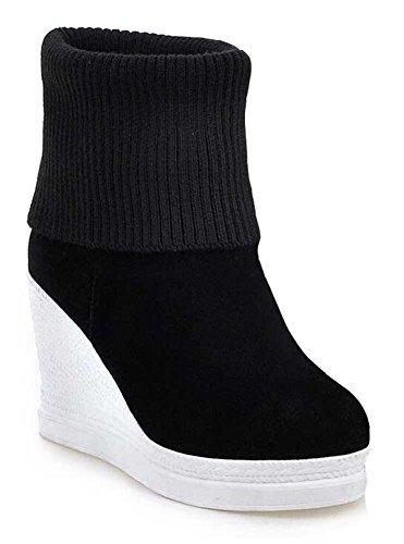 Chfso Womens Mode Tröja Stickad Rund Tå Dra På Hög Kil Plattform Boots Svart