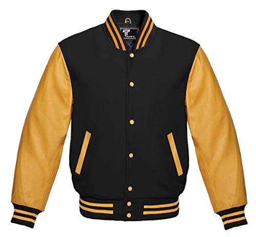 Premium Letterman Baseball School College Bomber Varsity Jacket Wool Black & Gold Genuine Leather Sleeves (Black/Gold, 3XL)