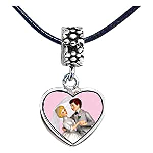 Chicforest Silver Plated Wedding Cake Couple Photo Flower Head Dangle Heart Charm Beads Fits Pandora Charm Bracelet