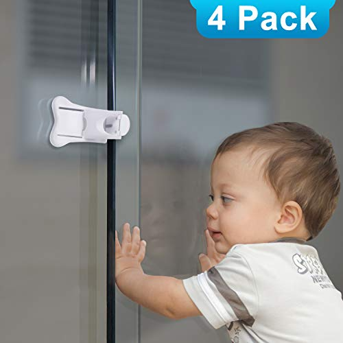- Adoric 4-Pack Sliding Door Locks for Baby Safety, Childproof Lock for Sliding Closet Cupboard Bathroom Kitchen Doors Windows, No Tools Needed, White