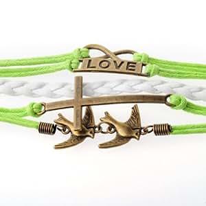 Infinity Silver Karma Wish Tree Best Friend Love Black Rope Leather Bracelet