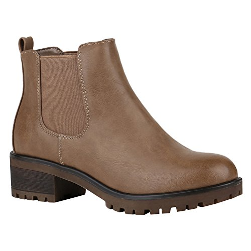 Stiefelparadies Damen Stiefeletten Chelsea Boots mit Blockabsatz Profilsohle Flandell Khaki Camiri