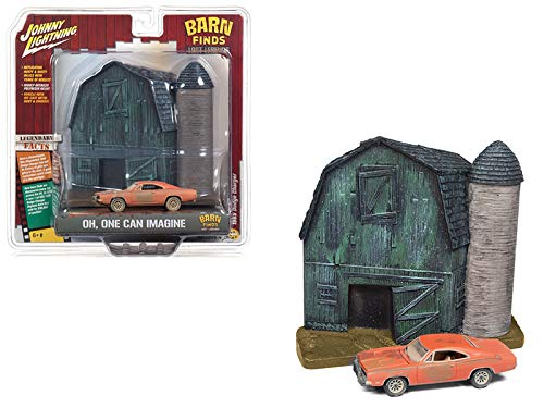 (1969 Dodge Charger Orange (Unrestored) with Barn Finds Resin Facade Diorama Lost Legend Series 1/64 Diecast Model by Johnny Lightning JLDR006 Dodge)