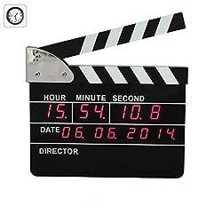 FDYD Neutral Clapper Board Digital Alarm Clock Creative Number Desk Clock for Home Decor Bedroom livingroom Decor (Directors Edition)